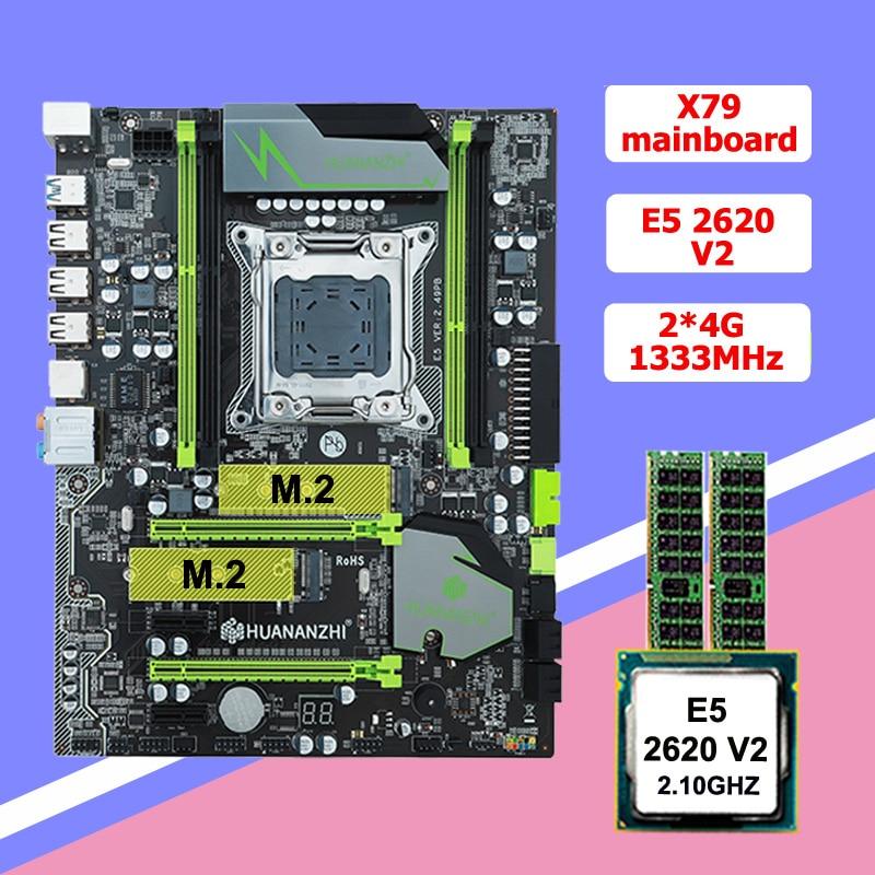 Desconto huanan zhi x79 lga2011 placa-mãe com slot m.2 cpu ram combos xeon e5 2620 v2 cpu 8g (2*4g) ddr3 recc 2 anos de garantia