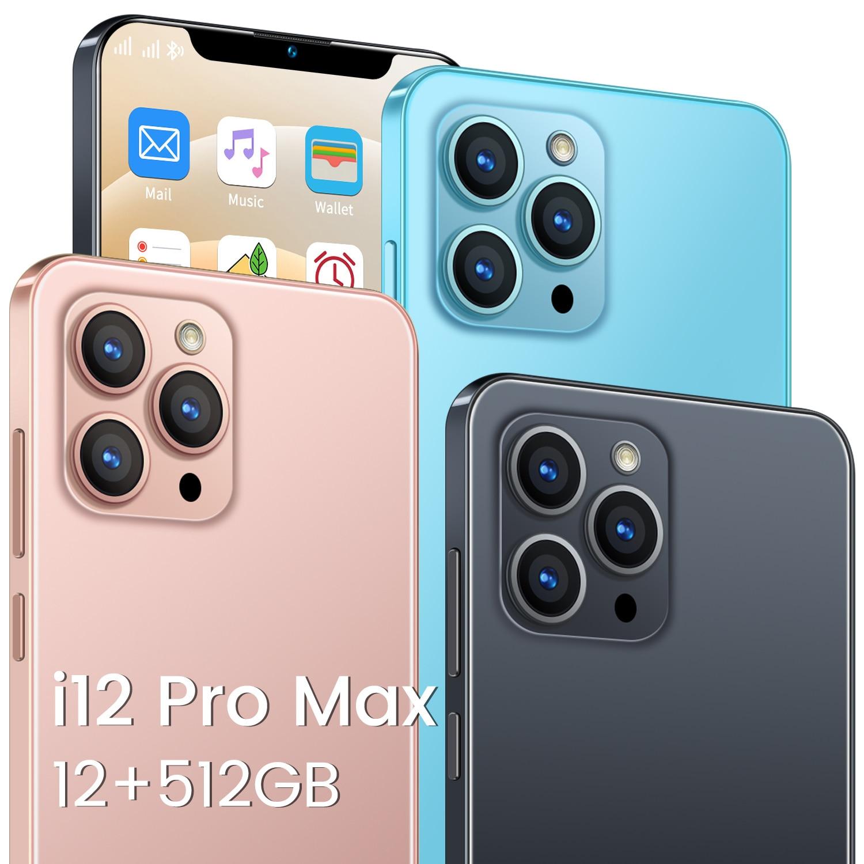 الإصدار العالمي 6.7 بوصة I12 برو ماكس الهاتف الذكي أندرويد 10.0 12GB + 512GB 24 + 48 ميجابكسل 5800mAh شاشة كاملة 10 كور 5G الهاتف المحمول