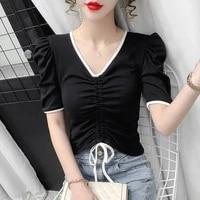 office ladies v neck tops summer new short sleeve korean fashion casual tee shirt femme clothing temperament slim t shirt women