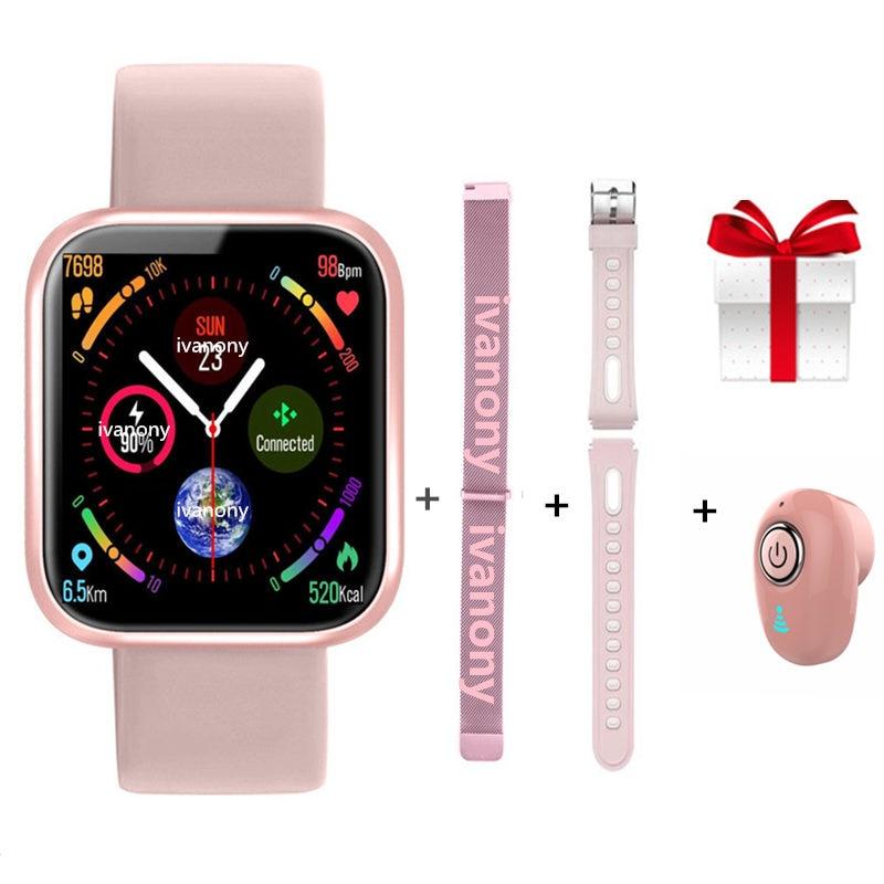 Reloj inteligente P70 + correas + pulseras de Fitness IP68 a prueba de agua presión arterial Frecuencia Cardíaca mujeres reloj inteligente para IOS Android