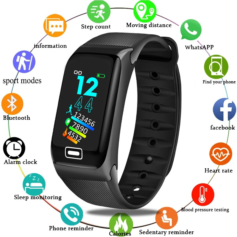 LIGE New Smart Bracelet Heart Rate Blood Pressure Health Waterproof Watch Bluetooth Wristband Fitness Tracker +Box