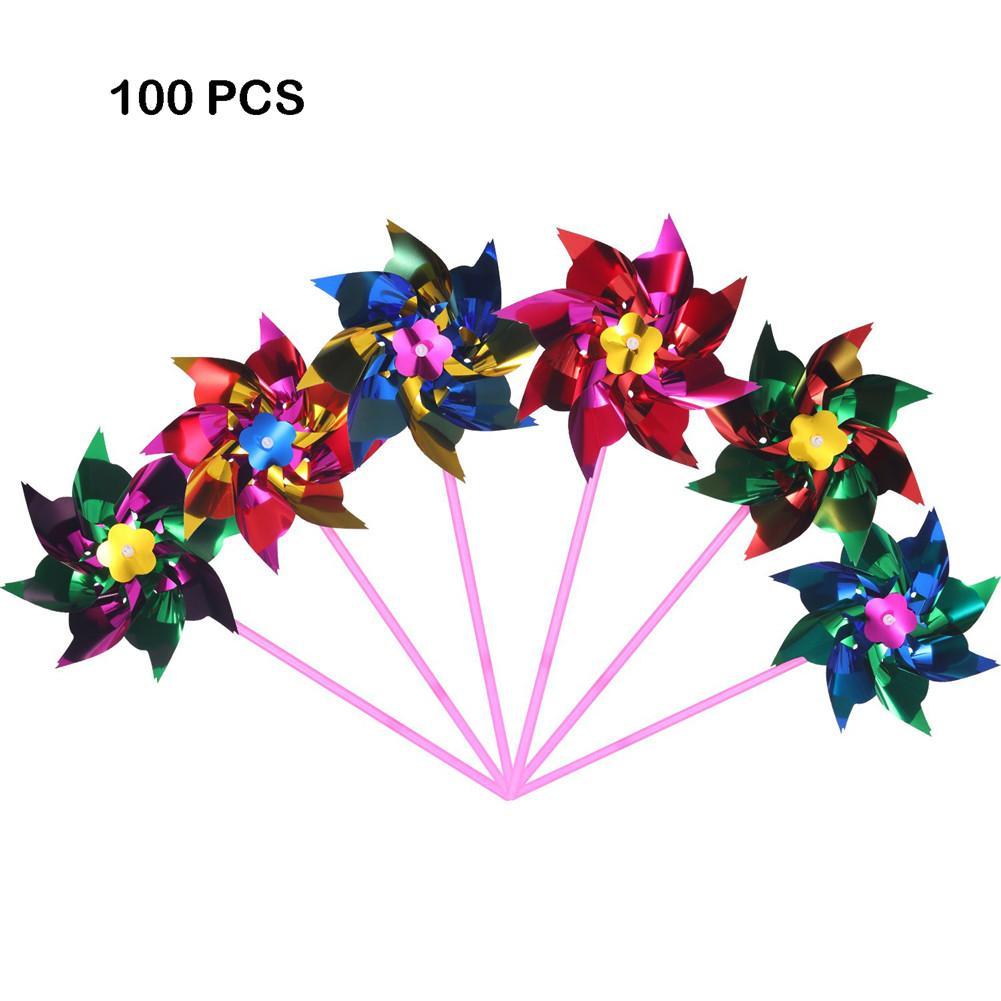 AUGKUN 100 Set plástico Arco Iris Pinwheel partido Pinwheel DIY césped molino conjunto para adolescentes juguete jardín fiesta césped Decoración