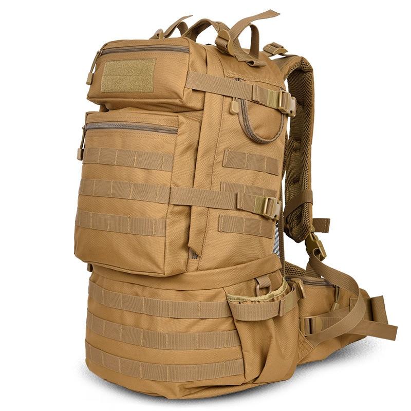 حقيبة ظهر كلاسيكية عسكرية عسكرية للرجال ، حقيبة ظهر كبيرة السعة ، 50 لتر ، نايلون مقاوم للماء للتخييم والتنزه والتنزه