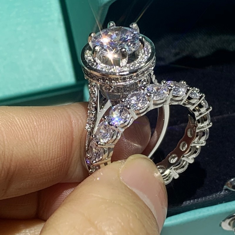 Dove ovo grande branco claro 5a zircão cúbico casal anéis de jóias luxo 925 prata esterlina festa de casamento feminino conjunto de anel de noiva