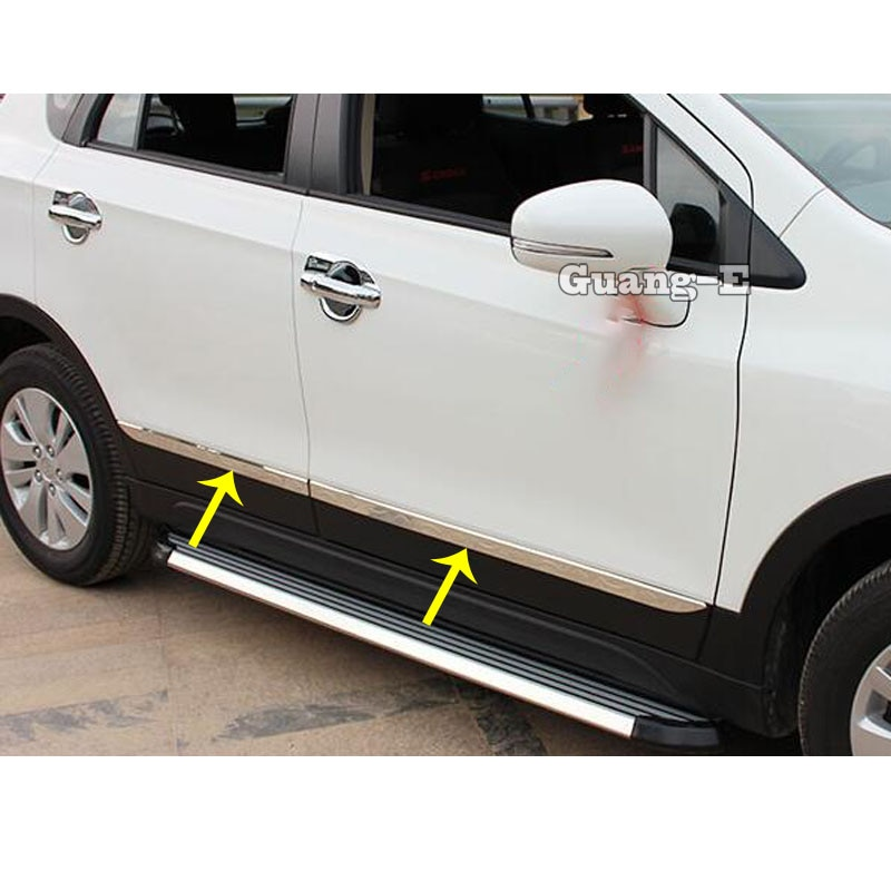 For Suzuki S-Cross SX4 2017 2018 2019 2020 Car Cover Stainless Steel Side Door Body Trim Frame Stick Strip Streamer Molding