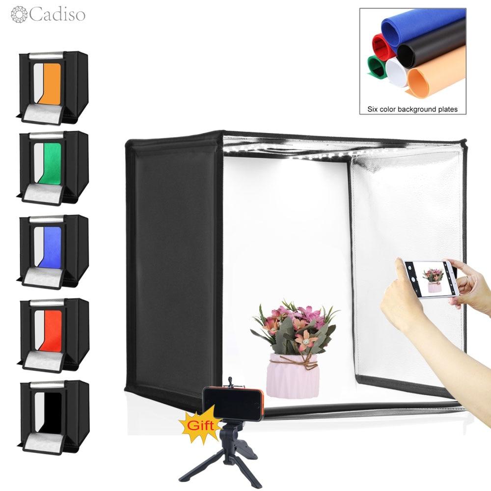 Cadiso للطي استوديو الصور الفوتوغرافي Softbox الناشر ضوء LED اطلاق النار مربع العلبة الخفيفة للتصوير 40 سنتيمتر خيمة مع 6 خلفية ترايبود