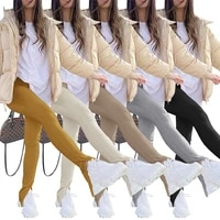 casual joggers women pants split solid color joggers high waist streetwear spring long pants clothes for women