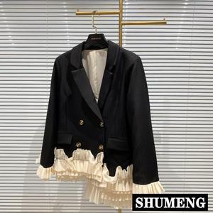 2020 Autumn New Lady's Streetwear Jacket Hem Pleated Ruffle Stitching Irregular Suit Jacket Fashion Double-breasted Blazer Coat