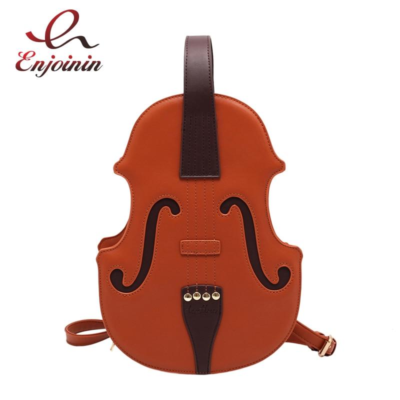 Fun Brown Violin Shape Pu Leather Shoulder Bag for Teenage Girls Fashion Backpack Travel School Bag Multiple Using Women Pouch
