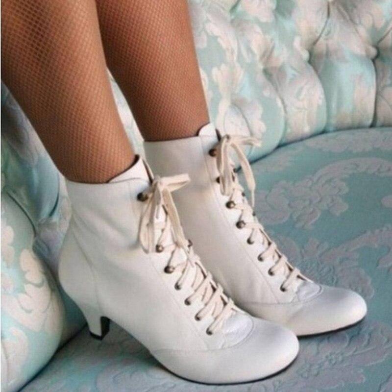 Женские Ботильоны на каблуке «рюмочка»; Винтажные ботинки на низком каблуке со шнуровкой; модные женские ботинки в стиле ретро в викторианс...