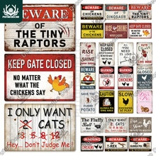 Putuo Decor Funny Bird of Prey Warning Vintage Chicken Guinea Pig Metal Tin Signs for Courtyard Gard