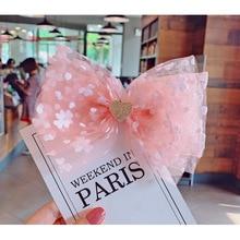 Bébé filles rose point épingles à cheveux fleurs de cerisier pince à cheveux amour coloré rubans pinces à cheveux épingles grand nœud nœud enfants chapeaux Barrettes