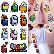 10Pcs Among Us Game Temporary Tattoo Sticker Waterproof Fake Tattoo Tattoos Hand Foot Tatouage for Kids Children Boy