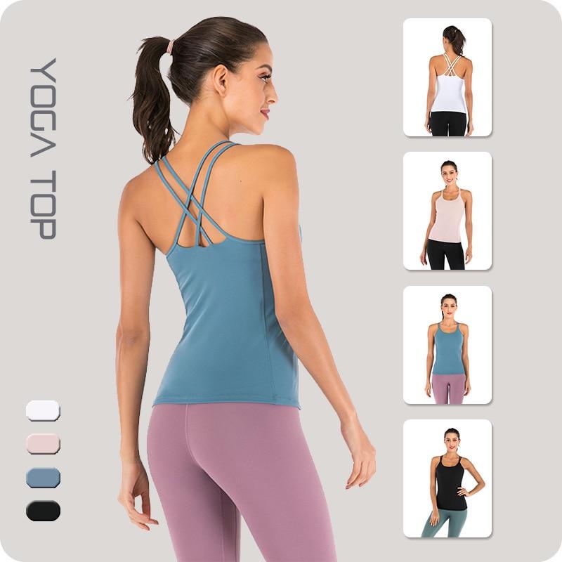 Nuevo chaleco de Yoga cruzado de Sujetador deportivo de desgaste exterior sólido de Fitness Body-Hugging