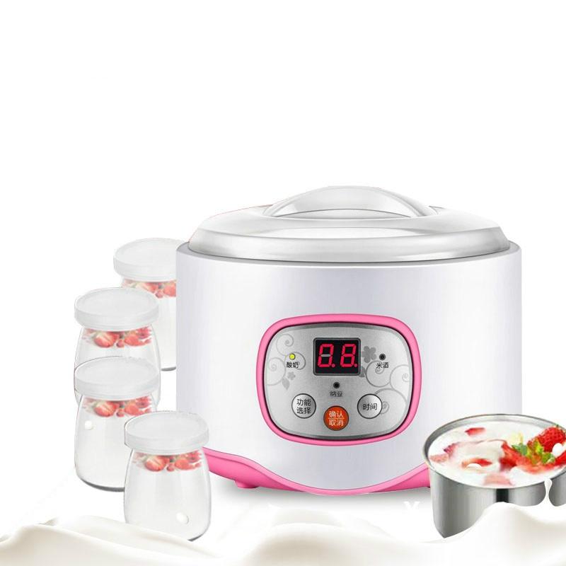 Máquina de Yogurt eléctrica multifuncional, temporizador nato, máquina de vino, Yogurt automático, fermentador con 4 tazas de vidrio Leben EU