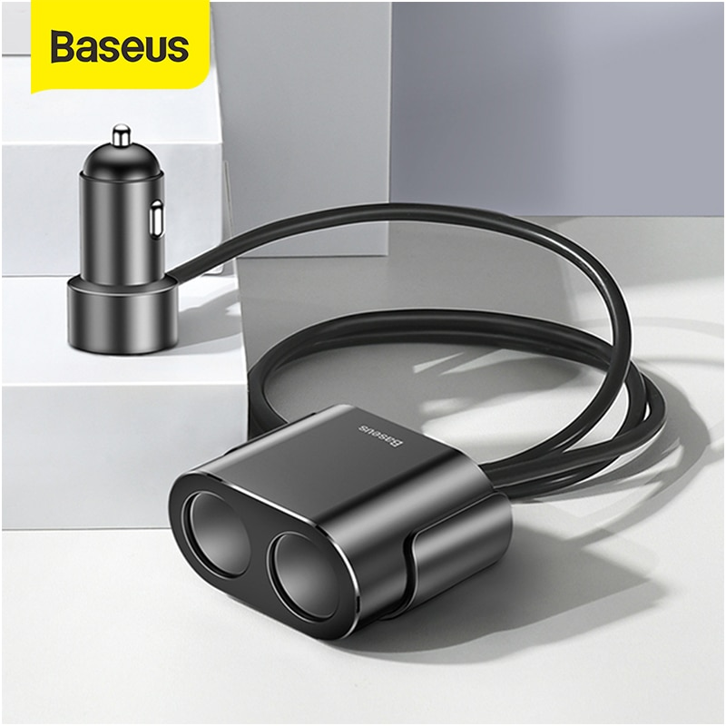 Baseus Cigarette Lighter Splitter 3.1A 100W Dual USB Car Charger Adapter for Phone Car-Charger Auto