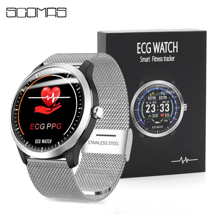 Reloj inteligente SCOMAS N58 ECG PPG para hombre, pantalla redonda IPS de 1,22 pulgadas, Monitor de pulso, presión arterial, llamadas, SMS, Smartwatch con recordatorio inteligente