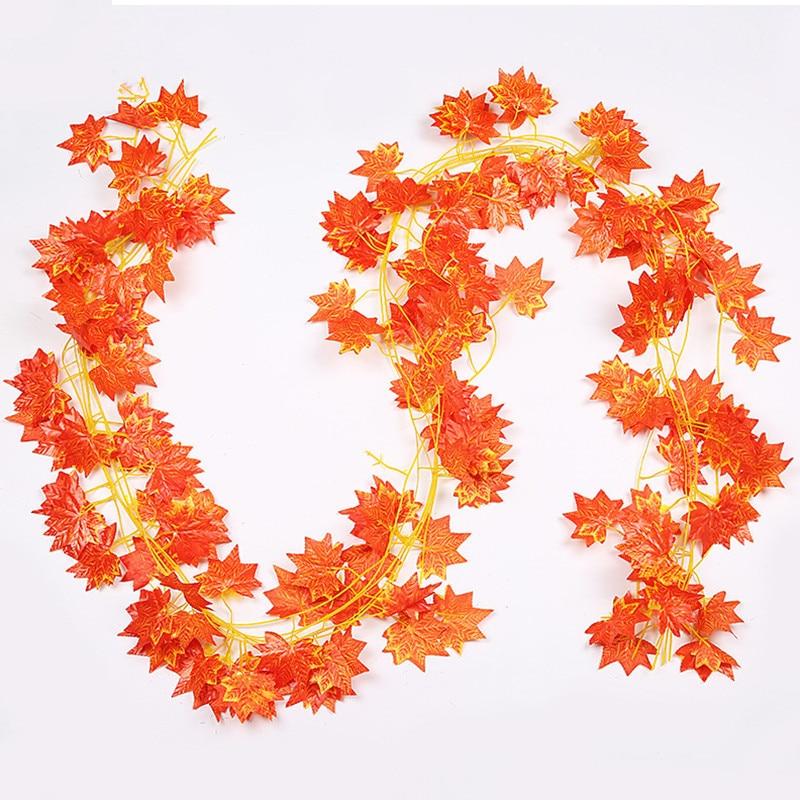 Window Autumn Leaves Garland Maple Leaf Vine Fake Foliage Decoration 2.4m 1ft Home Garden New Arrivals