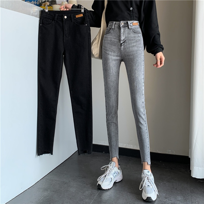 Spring and Autumn Korean Style 2021 New High Waist Slimming Cut Frayed Tappered Pencil Cropped Jeans