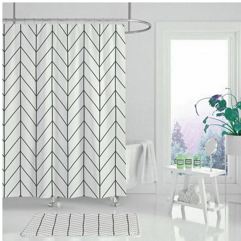 Cortina para ducha de caricaturas de flores geométricas Cortina de Ducha moderna, Cortina impermeable de poliéster para Baño