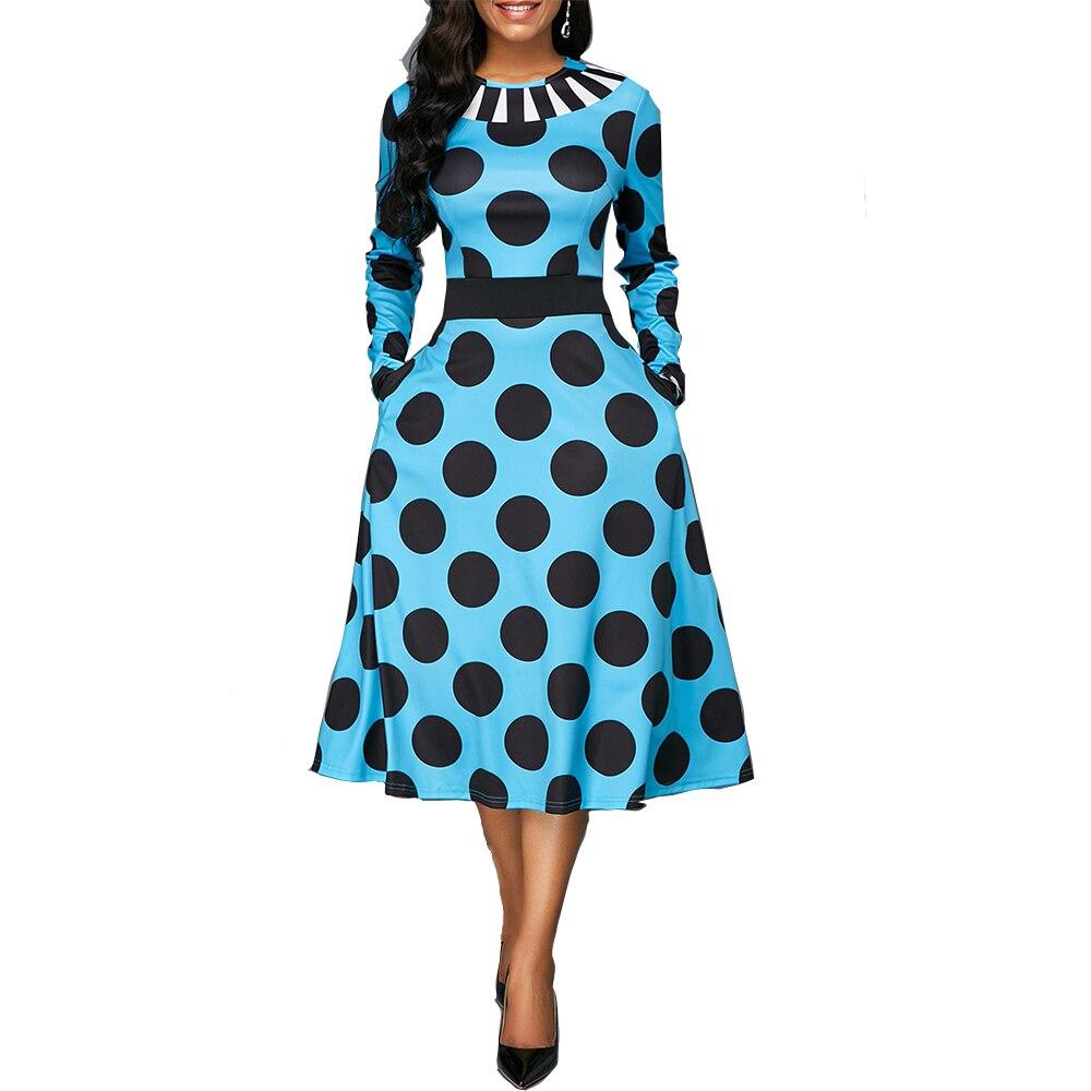 Vintage sexy vestido de baile vestido longo feminino 2020 outono casual manga comprida elegante fino dot print bolso vestido de festa plus size 5xl