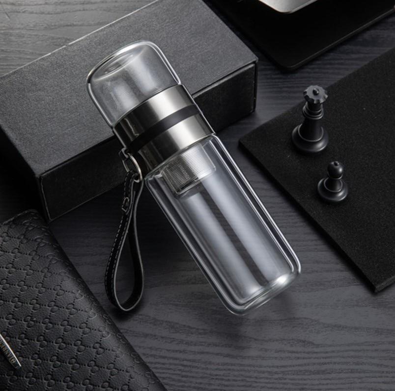 Botella de agua de vidrio aislado breve prueba de fugas hervidor de agua portátil con Infusor de té Protector negocios Oficina botella termo deporte