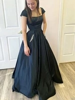 long black mother of the bride dresses with pockets crystals beading cap sleeve evening a line wedding party evening prom gowns