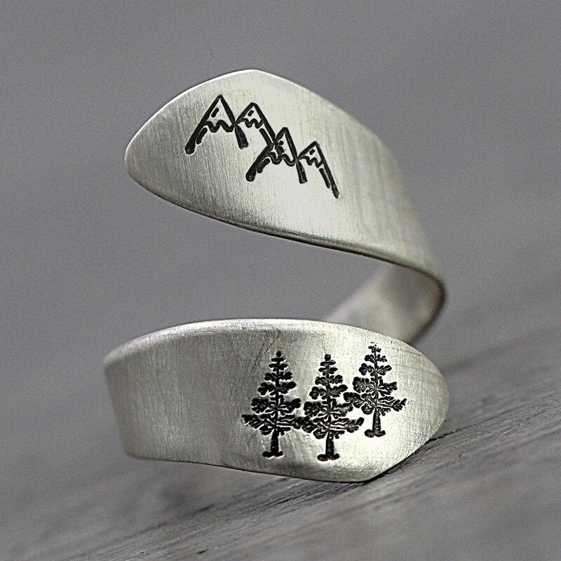 Anillos únicos para mujer, hombres, Thai, Color plata, montaña, árbol, bosque, anillos para mujer, joyería de fiesta, anillos de dedo abiertos para mujer