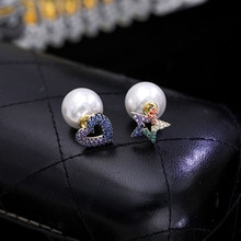 Elegant Colorful Crystal Star Heart Stud Earrings For Women Accessories, Cute White Simulated Pearl