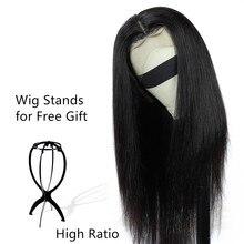 Perruque Lace Frontal Wig 360 naturelle brésilienne Remy   Cheveux lisses, 13x4, pre-plucked, avec Baby Hair, perruque Lace Front Wig, pour femmes africaines, 180%