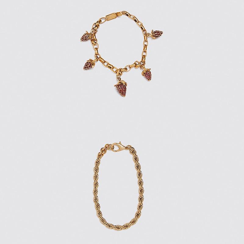 2020 nova za na moda bonito morango pingente de corrente pulseira conjunto para mulheres meninas chique presentes bangles & pulseiras amizade acessório