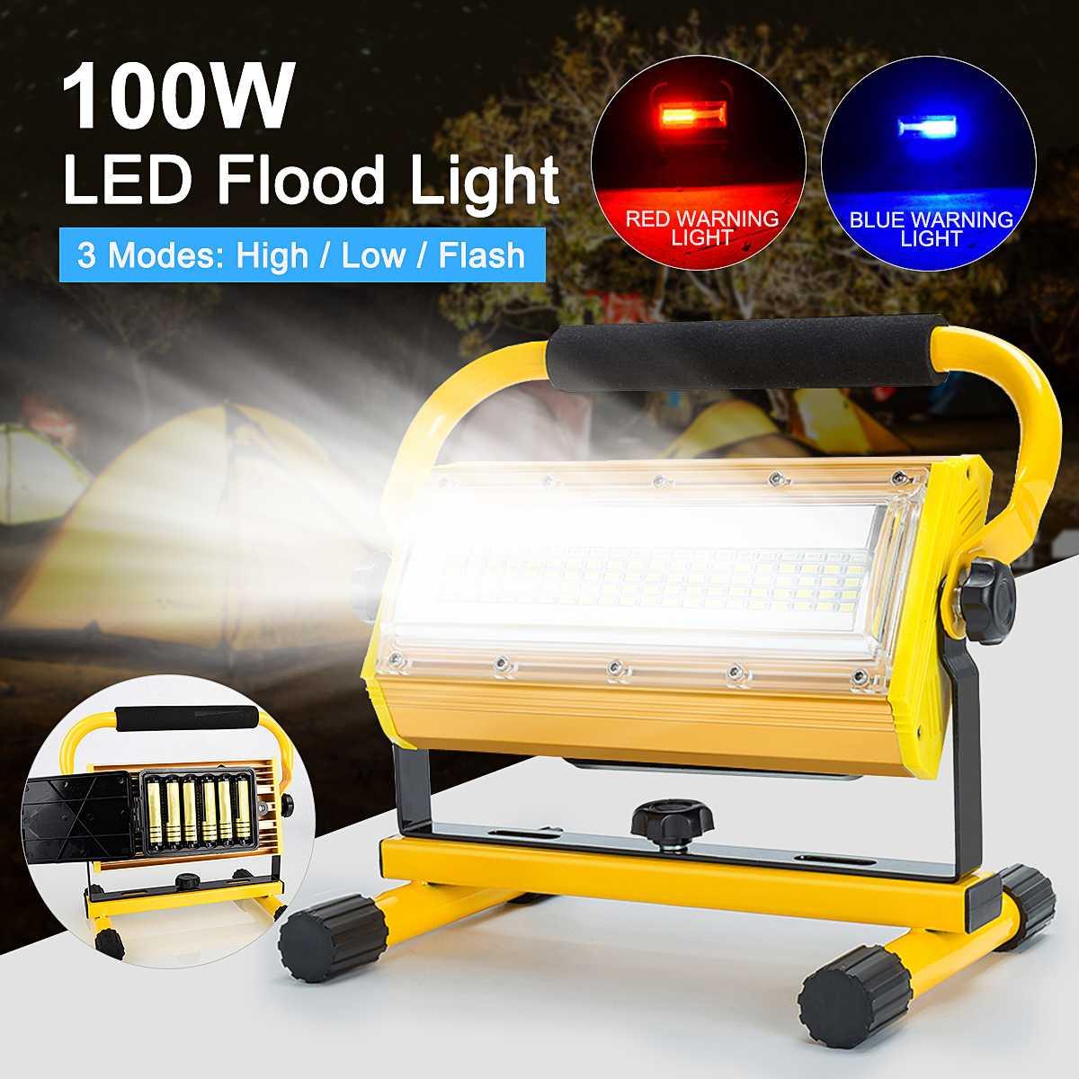 Nuevo Reflector LED de 100W para exteriores, Reflector LED para proyector, lámpara de construcción recargable, 18650 baterías