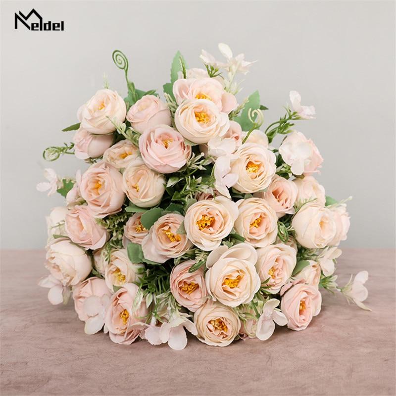 10 koka lule artificiale trëndafila buqetë shoqëruese e nuses 5 - Aksesorë dasme - Foto 5