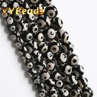 natural evil eye black dzi agates tibetan beads spacer charms beads for jewelry making diy bracelet necklaces 15 6 8 10 12mm