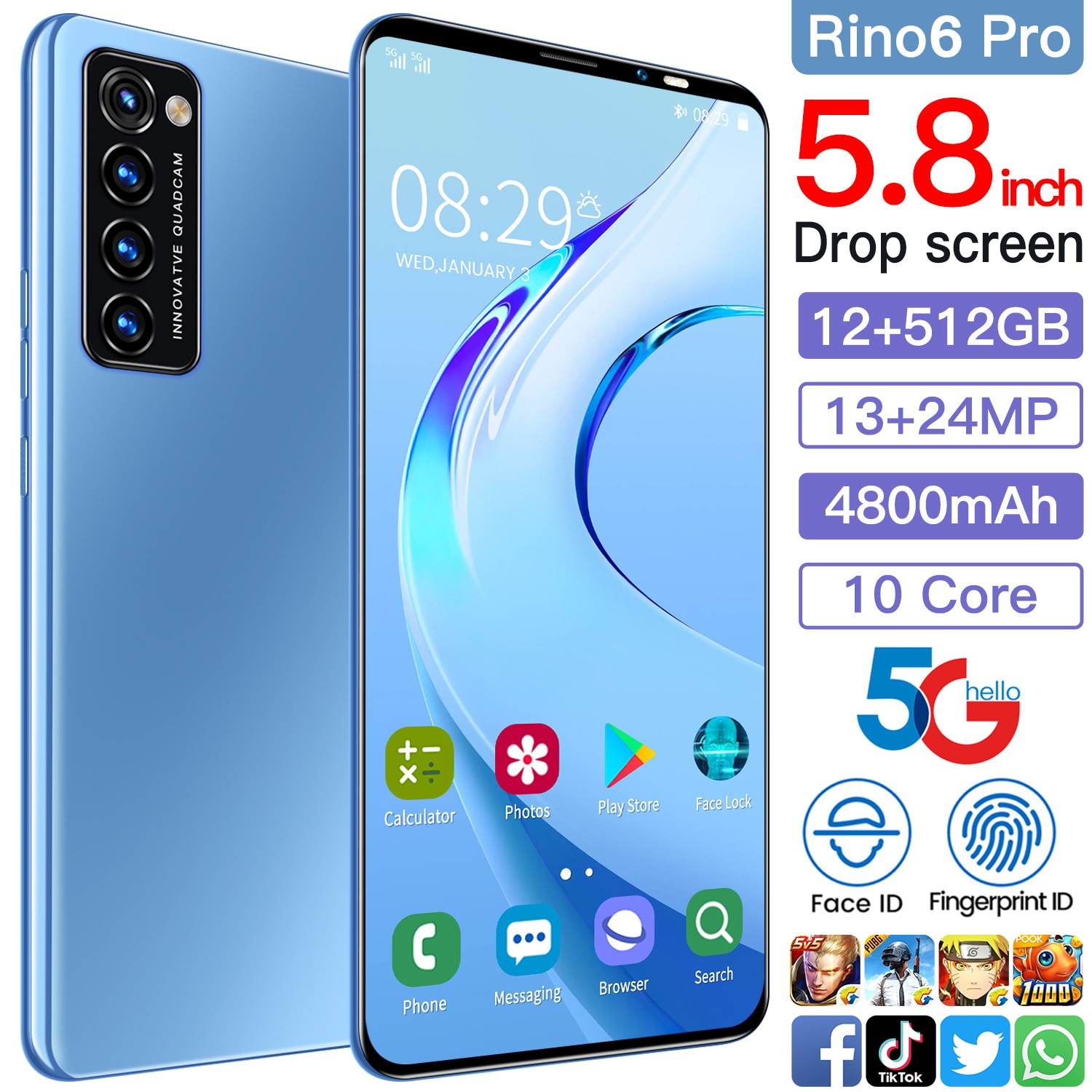 Newest Rino6 pro 5.8 Inch 4  64GB 10 Core 4800mAh Andriod 10 Mobile Phone Face ID Smartphones Cellphones Dual SIM 13+24MP Andrio enlarge