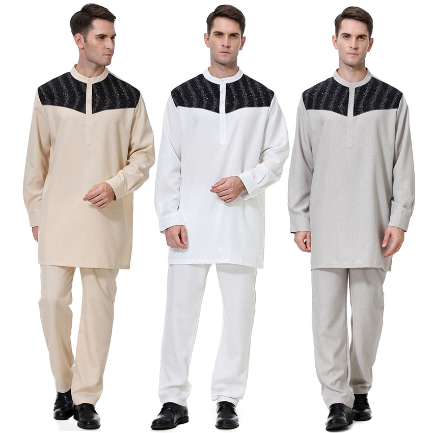 Jubba Thobe Moda musulmana vestimenta islámica Dubái Kaftan pantalones de manga larga Arabia Saudita Abaya Pakistán Turquía Ramadán