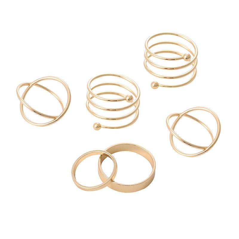 6pcs/set Punk Finger Rings Minimalist Smooth Gold Black Geometric Metal Rings for Women Girls Party Jewelry 2021 bijoux femme