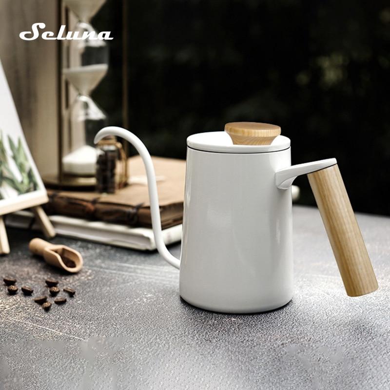 600 мл, чайник для кофе из нержавеющей стали с гусиной ручкой и деревянной ручкой, кофейник бариста, чайник с длинным носиком, плита, заварочны...