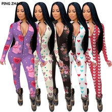 PING ZHAO Autumn Winter Fashion Printing Long Sleeve Bodycon Jumpsuit Women Sexy Club Party One Piec