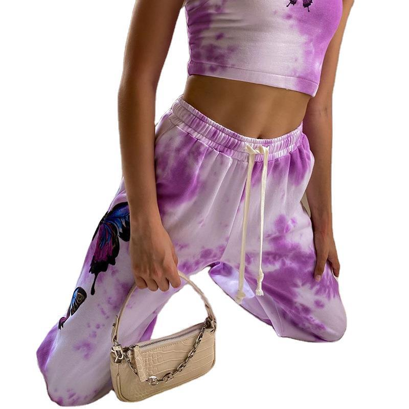 Tie Dye Cropped Crop Top Pants Women 2 Piece Sets Tracksuit Sexy Clothes Summer Stacked Leggings Lounge Wear Matching Clothing