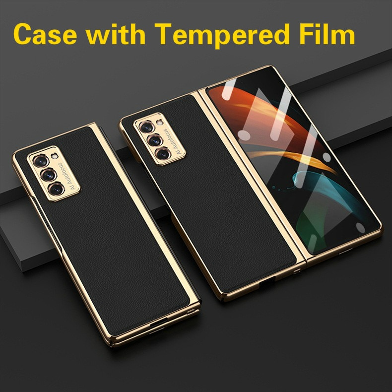 الفاخرة حالة لسامسونج GalaxyZ Fold2 5G شامل المعادن متفوقا الزجاج المقسى الرجعية جلد غطاء ل غالاكسي Z أضعاف 2 حالة