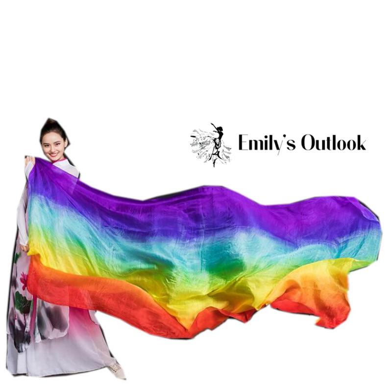Promotion Hot Selling Belly Dance Silk Veil For Women Light 5 Mommes 100% Silk Belly Dance Shawls Wraps Gradient 250cm