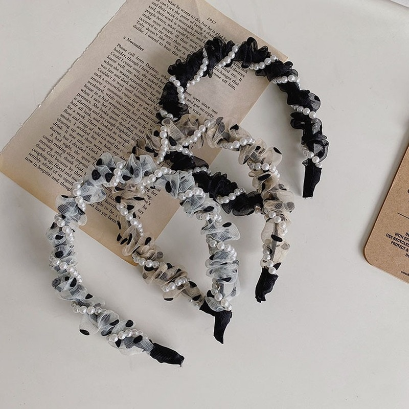 Korean Polka Dot Fold Pearl Headband Braided Winding Bezel Net Yarn Fine Edge Hair Band Women Headba