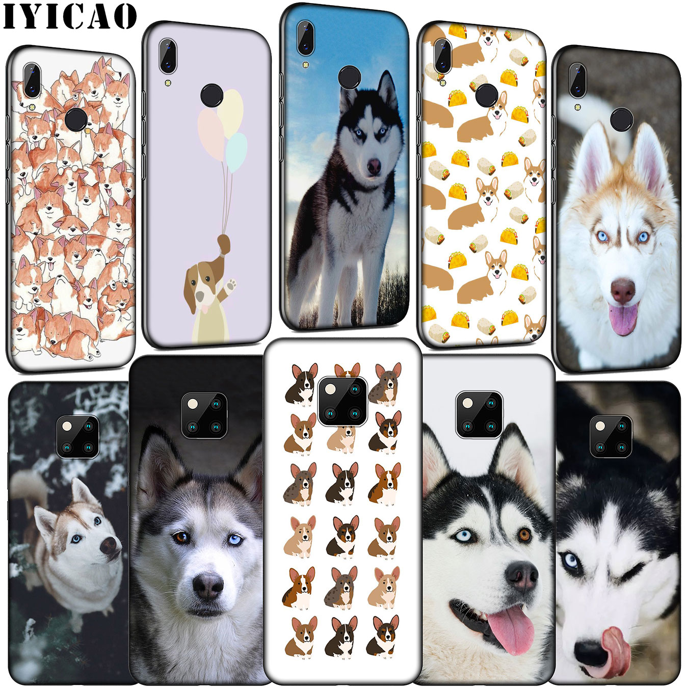 IYICAO perro Husky Corgi suave silicona teléfono caso para Huawei Mate 30 20 10 Pro Nova 5i 4 3 3i 2i 2 Lite negro cubierta