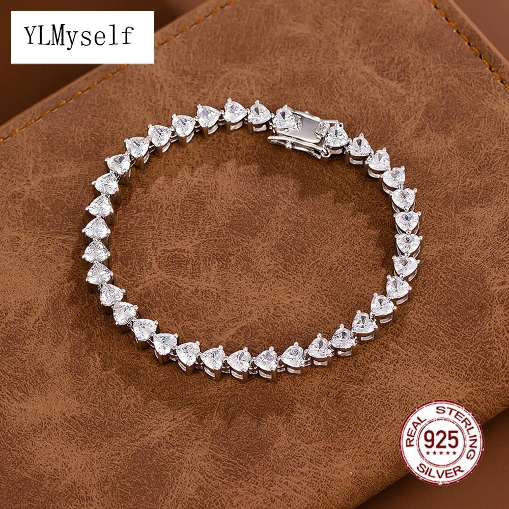 حقيقي 925 الفضة 15-19 سنتيمتر أساور 4 مللي متر القلب زركون مجوهرات لطيف الزفاف الأبدي جميل فضة سوار