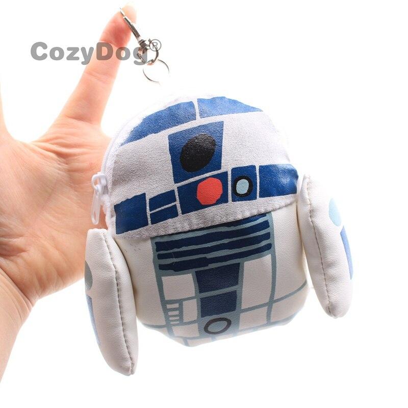 R2-D2 del despertar de la fuerza de Star Wars, figura de Robot de peluche blanco, monedero, monedero, bolso bonito, accesorio de 13x13cm