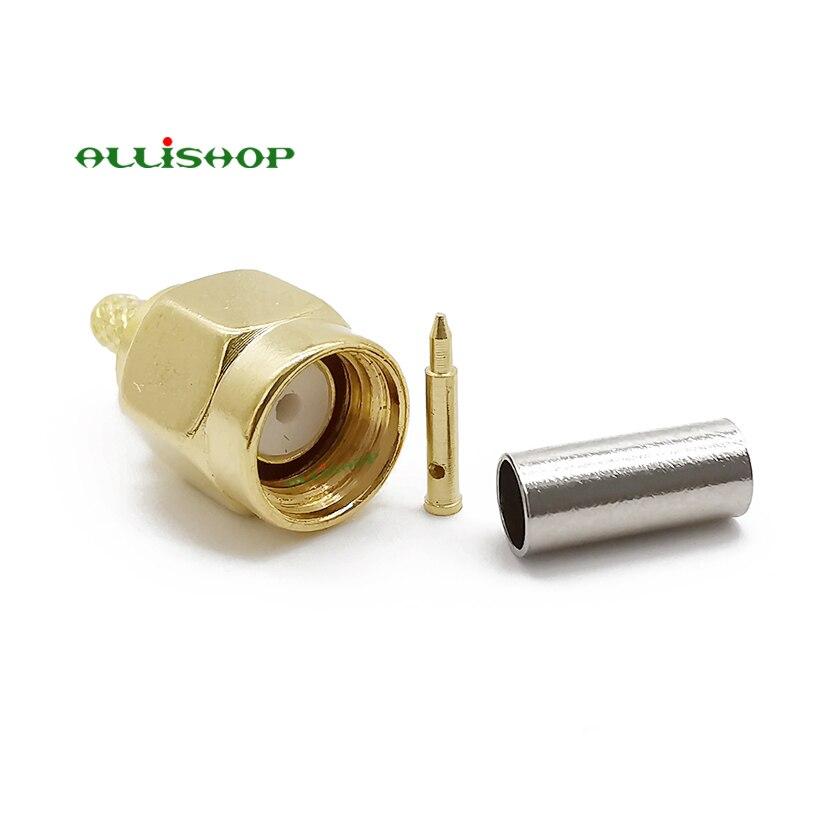 موصلات RF SMA لكابلات التجعيد ، 30 قطعة ، سلك ، طلاء ذهبي مستقيم ، RG174 RG316 LMR100