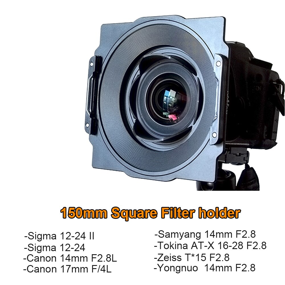 Suporte para filtro wyatt 150mm para tokina 16-28, samyang 14mm, canon 17mm/14mm, sigma 12-24mm ii, lente zeiss t * 15mm