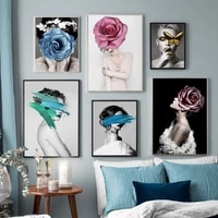 abstract fashion girl flower graffiti vintage wall art canvas painting nordic posters and prints wall pictures for living room