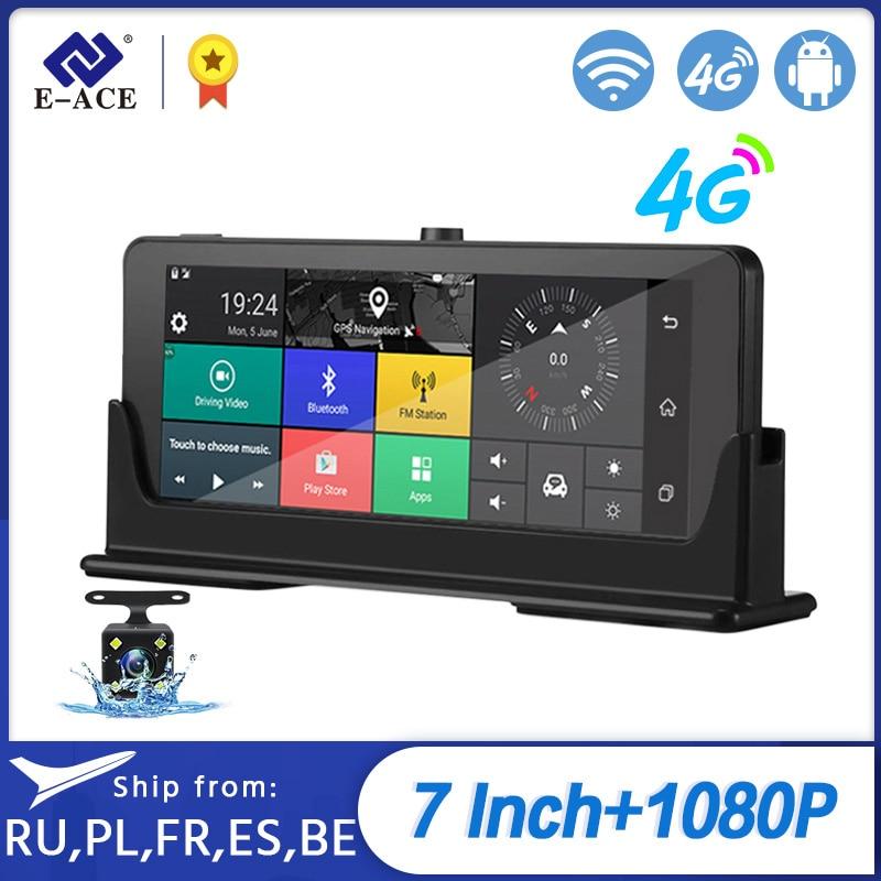 E-ACE Auto Dvrs 7 Inch 4G Android Dash Kameras Dual Objektiv GPS Navigator ADAS Volle HD 1080P Dash cam Auto Video Kanzler Recorde